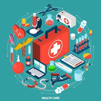 Ikona izometryczny koncepcja opieki zdrowotnej