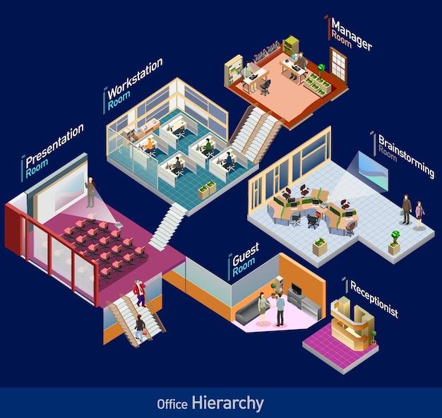Ikona izometryczny pakietu office. wstępnie zmontowany izometryczny