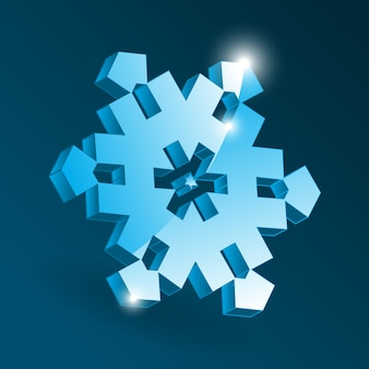 Ikona izometryczny płatka śniegu z różnymi kształtami perspektywy. prosty niebieski element płatka śniegu na boże narodzenie projekt i dekoracje noworoczne