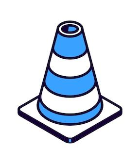 Ikona izometryczny stożka drogowego w paski, ilustracja na białym tle sprzęt do robót drogowych