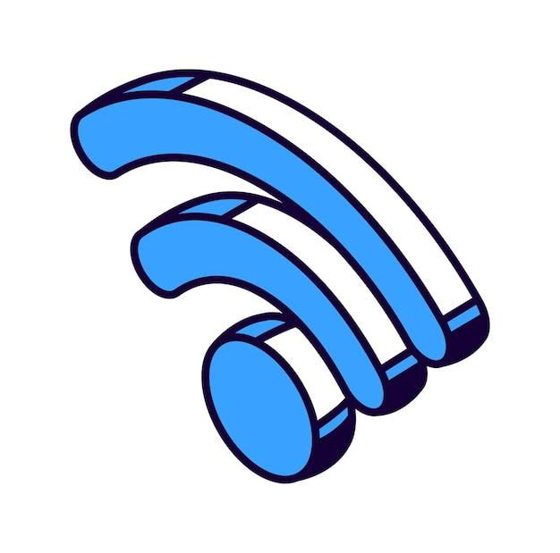 Ikona izometryczny wifi, bezprzewodowy internet technologia na białym tle ilustracji wektorowych