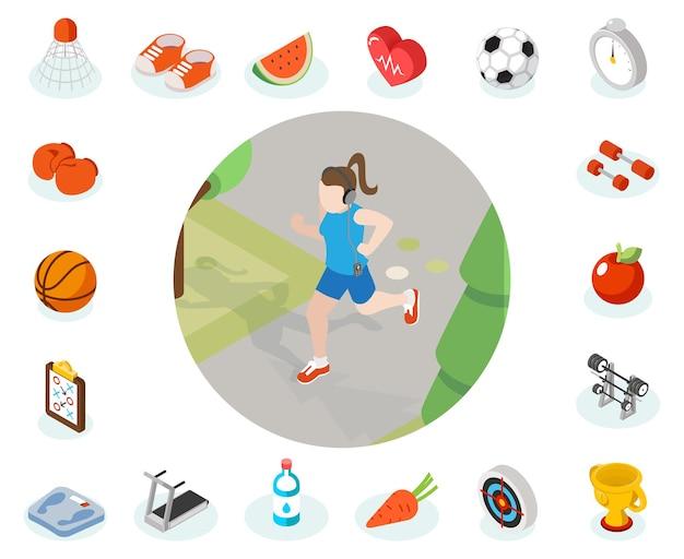 Ikona izometryczny zdrowego stylu życia. ilustracja kobieta zdrowy styl życia