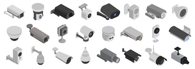 Ikona izometryczny zestaw kamer bezpieczeństwa. ilustracja cctv na białym tle. izometryczny zestaw ikon kamer bezpieczeństwa.
