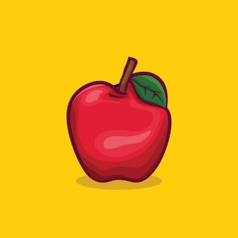 Ikona jabłko na białym tle ilustracja wektorowa z prostym kolorem konturu kreskówki