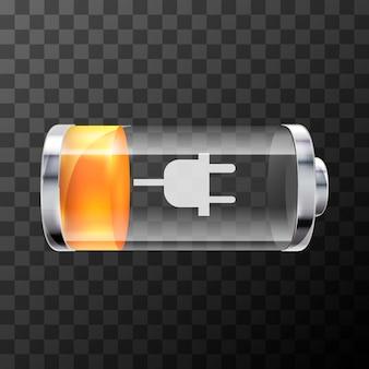 Ikona jasny błyszczący baterii