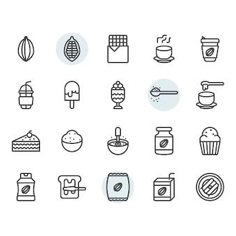 Ikona kakao i symbol w konspekcie