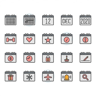 Ikona kalendarza i zestaw symboli