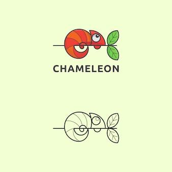 Ikona kameleon z logo w prostym stylu