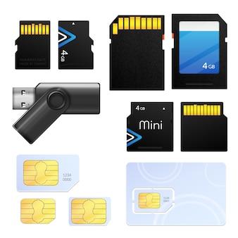 Ikona karty sim na białym tle realistyczne karty pamięci z różnych typów dla różnych technologii