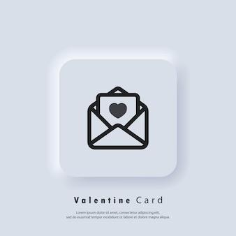 Ikona karty z pozdrowieniami. logo karty upominkowej. walentynki kartkę z życzeniami. koncepcja miłości. wektor. ikona interfejsu użytkownika. biały przycisk sieciowy interfejsu użytkownika neumorphic ui ux.