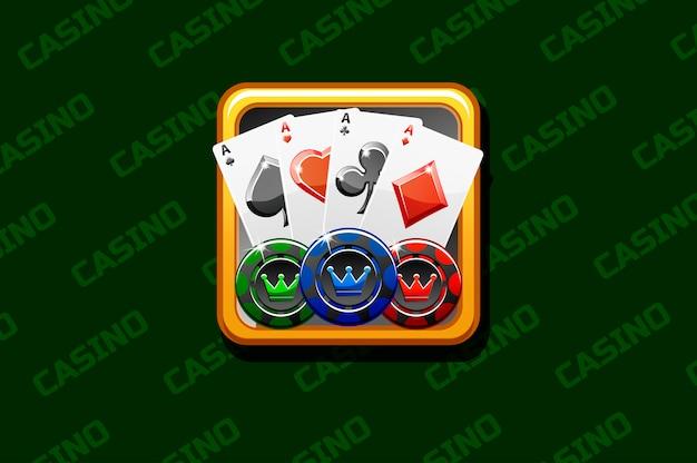 Ikona kasyna na zielonym tle, dla gry interfejsu użytkownika