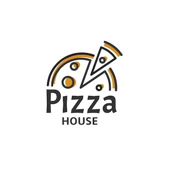 Ikona kawałek pizzy. szablon logo nowoczesnej pizzerii. godło restauracji włoskiej żywności. projektowanie logotypu kawiarni fast food ilustracji wektorowych. wektory