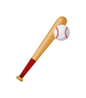 Ikona kij baseballowy i piłka na białym tle. kolorowy wzór. ilustracji wektorowych