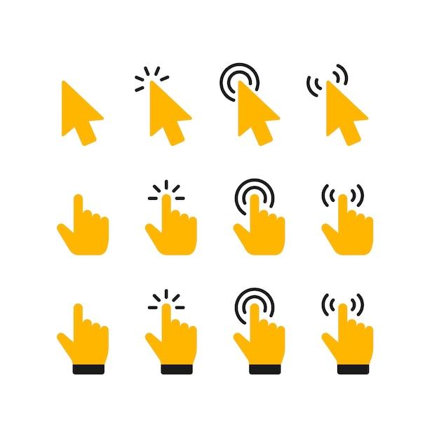 Ikona kliknięcia wskaźnika. kliknięcie kursorem, wskazująca dłoń klika ikony