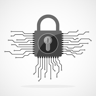 Ikona kłódki elektronicznej w płaskiej konstrukcji. koncepcja bezpieczeństwa informacji, na białym tle