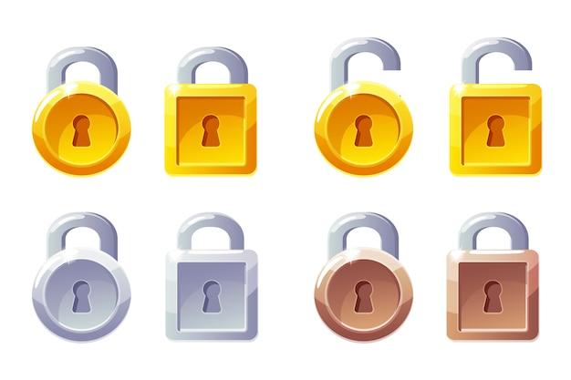 Ikona kłódki o kwadratowym i okrągłym kształcie. blokada poziomu gui. kłódki złote, srebrne i brązowe.