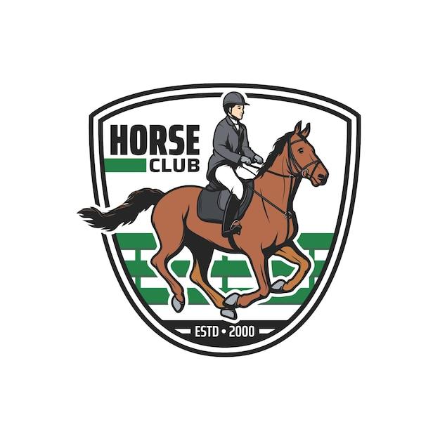 Ikona klubu konnego, dżokej, koń, arena jeździecka