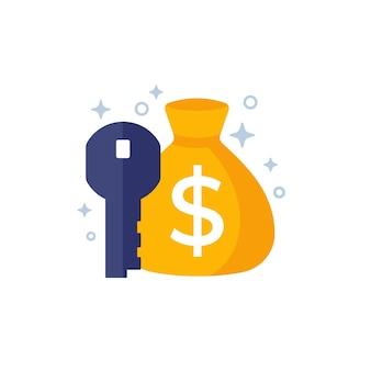 Ikona klucza pieniędzy z torbą, wektor