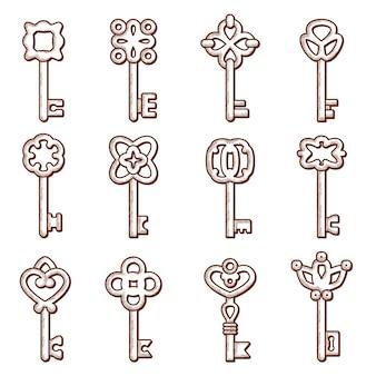 Ikona kluczy. sylwetki kluczy i zamków stara kolekcja eleganckich logo w stylu wiktoriańskim
