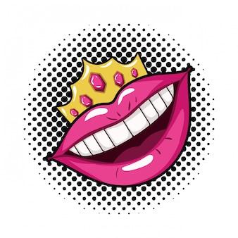 Ikona kobiece usta pop-artu stylu na białym tle
