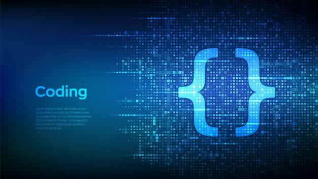 Ikona kodu programowania wykonana za pomocą kodu binarnego. tło macierzy kodowania lub hakera z cyframi 1.0.