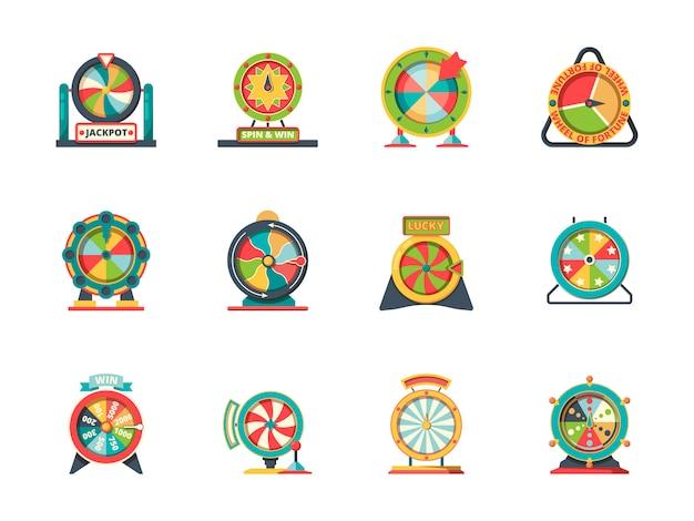 Ikona koła fortuny. okrągłe obiekty kolekcji szczęśliwych wirujących ruletkowych kół loterii