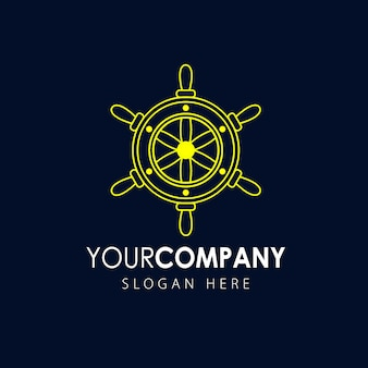 Ikona koła kierownicy statku, logo morskie
