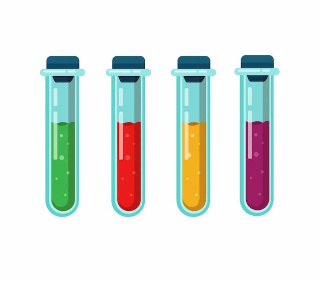 Ikona kolekcji probówki. koncepcja sprzętu laboratoryjnego do testowania chorób lub klinicznych badań medycznych. kreskówka płaski ilustracja na białym tle