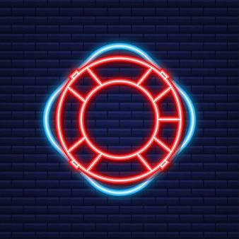 Ikona koło ratunkowe, wyposażenie ratowników do ratowania tonących. neonowa ikona. ilustracja wektorowa.