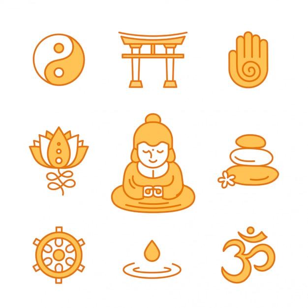 Ikona kolor religijnych świętych symboli buddyjskich. desgin ikona stylu nowoczesnej linii płaskiej. na białym tle w kolorze białym. ezoteryczny, buddyzm, tajski, bóg, joga, zen
