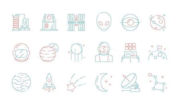 Ikona kolorowe miejsca. kolekcja astronomii odkrycie wszechświata astronauta obcy prom rakieta księżycowy radar wektor futurystyczne symbole