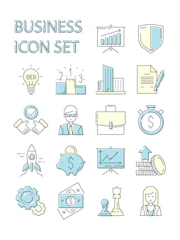 Ikona kolorowy biznes. symbole responsywne zestaw danych doskonałość danych głośnik finanse strategia startup zarys pracowników