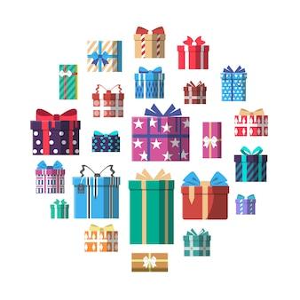 Ikona kolorowy prezent pudełko w płaska konstrukcja
