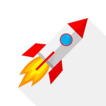 Ikona kolorowy statek rakietowy w płaska konstrukcja na białym tle