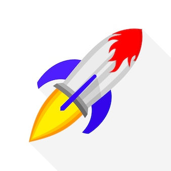 Ikona kolorowy statek rakietowy w płaska konstrukcja