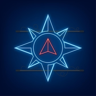 Ikona kompasu. płaski symbol nawigacji. neonowa ikona. ilustracja wektorowa.