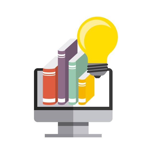 Ikona komputera, książki i żarówki. projekt praw autorskich. grafika wektorowa