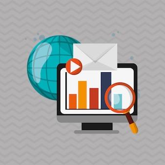 Ikona komputera marketingu cyfrowego. koncepcja multimedialna