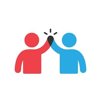 Ikona koncepcja biznesowa pracy zespołowej. dwie osoby dają pięć znaków. wektor eps 10