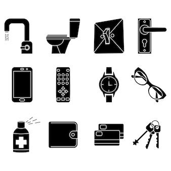 Ikona koncepcja dezynfekcji pomieszczeń. sterylna powierzchnia. urządzenia sanitarne w domu. odkażanie domowych przedmiotów codziennego użytku. ikony glifów dotyczące czyszczenia i dezynfekcji. zapobieganie koncepcji rozprzestrzeniania się wirusa. izolowany wektor