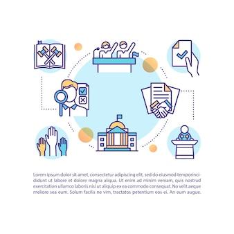 Ikona koncepcja dokumentów ustawodawczych z tekstem. wybory. prawa polityczne i uczestnictwo. szablon strony ppt. broszura, magazyn, element broszury z ilustracjami liniowymi