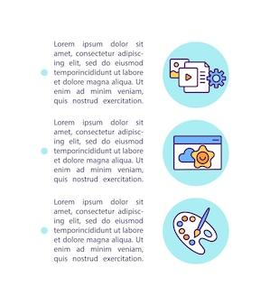 Ikona koncepcja edukacji online z tekstem. atrakcyjność wizualna. szablon strony ppt. koncepcja e-learningu. kształcenie na odległość isuue.