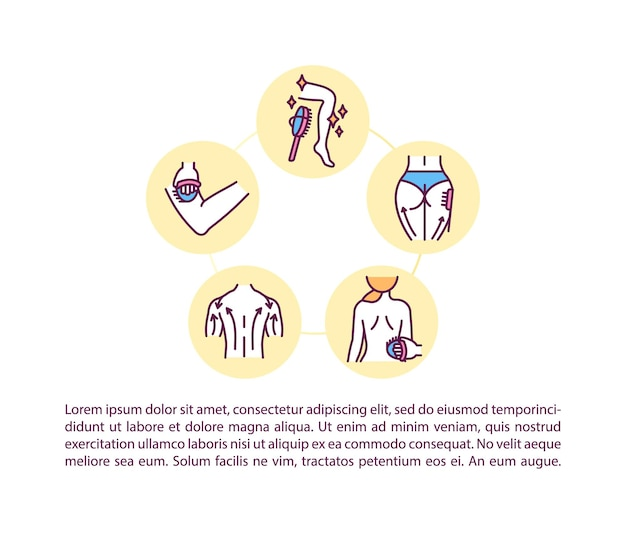 Ikona koncepcja efektów szczotkowania na sucho z tekstem. instrukcje masażu na sucho. szablon strony ppt. zabiegi kosmetyczne w domu.