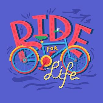 Ikona koncepcja jazdy na życie. zdrowy styl życia pomysł pół płaski ilustracja. ïwycieczka rowerowa. ekoturystyka dookoła świata na rowerze. wektor na białym tle rysunek kolor