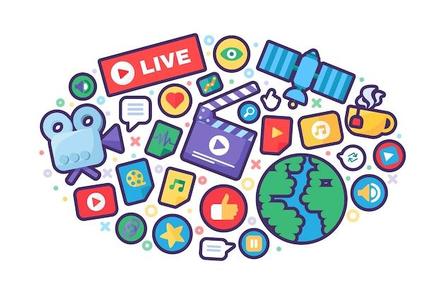 Ikona koncepcja produkcji transmisji na żywo. media społecznościowe pomysł cienka linia ilustracja. wiadomości z całego świata, pół płaskie odznaki. nowoczesny projekt okładki. wektor kolor na białym tle kontur rysunku