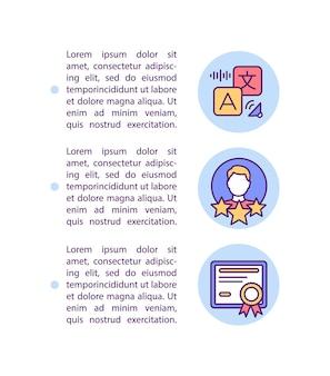 Ikona koncepcja profesjonalnej edukacji online z tekstem. certyfikowani lektorzy języków obcych. szablon strony ppt.