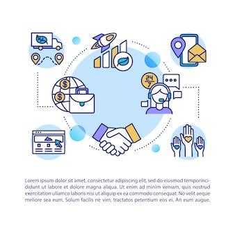 Ikona koncepcja reputacji firmy z tekstem. wydajność pracy. zadowolenie klienta. wsparcie call center. szablon strony ppt. broszura, magazyn, element broszury z ilustracjami liniowymi