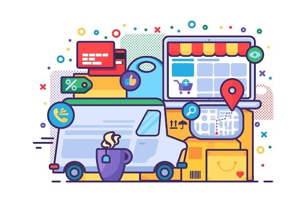Ikona koncepcja usługi dostawy. zamawianie online i półpłaska ilustracja pomysł szybkiej wysyłki. płatność kartą i śledzenie przesyłek. na białym tle projekt kolor rysunku