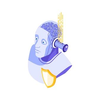 Ikona koncepcji izometrycznej bezpieczeństwa cybernetycznego z ilustracją postaci robota i tarczy