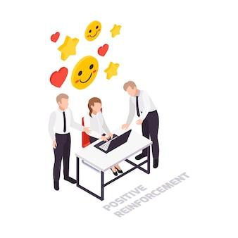 Ikona koncepcji izometrycznej umiejętności miękkich z postaciami kolegów w biurze i kolorowymi obrazami 3d
